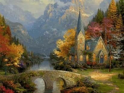 Landscape Oil Kinkade Thomas Beginners Painting Paintings