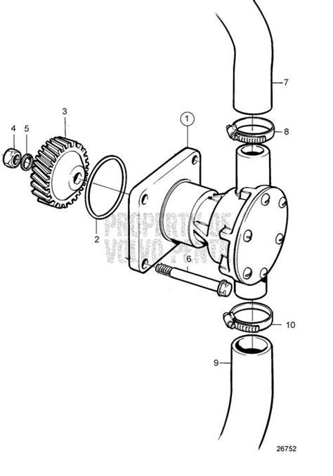 volvo penta exploded view schematic sea water pump