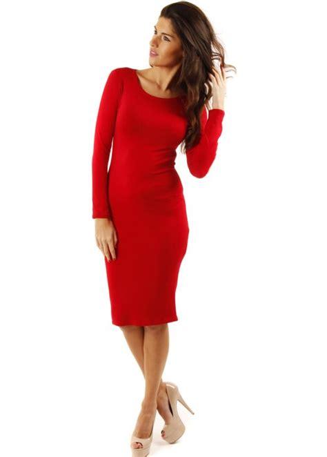 red jersey dress midi dress jersey pencil dresses