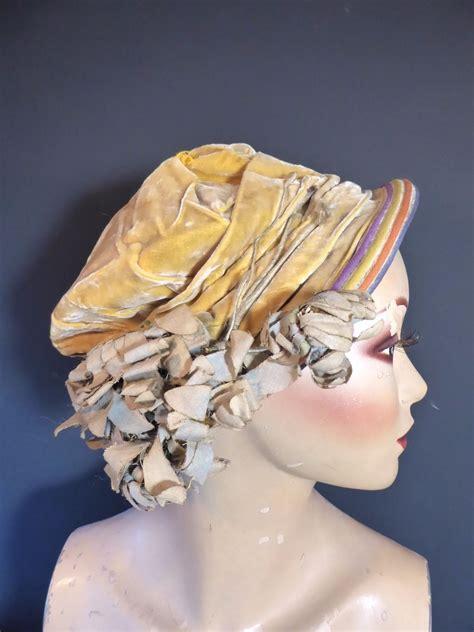 original vintage    yellow velvet hat