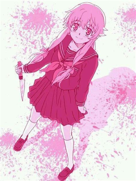 mirai nikki anime girl kawaii cute yuno gasai pink