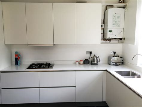 Matt White Handleless   Ware   Blax Kitchens Ltd