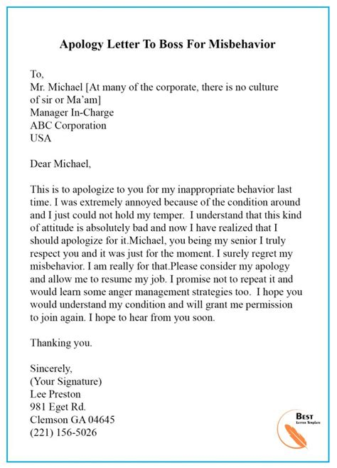 apology letter template  boss manager sample