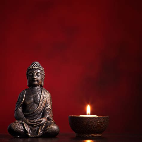 Buddha with Burning Candle Wallpaper for Living Room Wall Decor