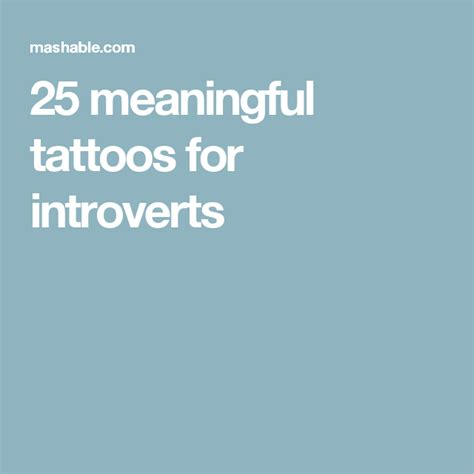 Meaningful Tattoos Introverts