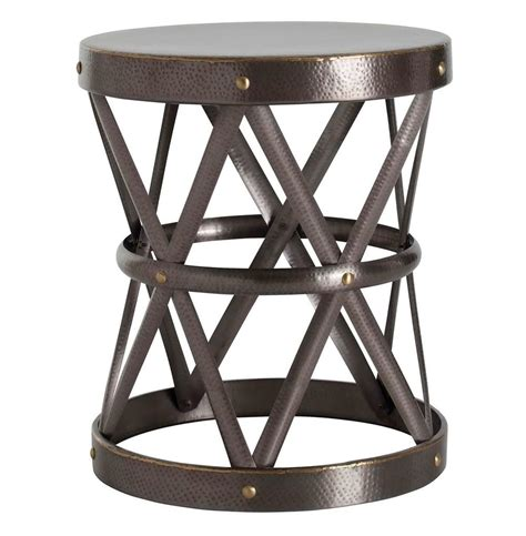 metal drum side table costello dark brass hammered metal open accent side table
