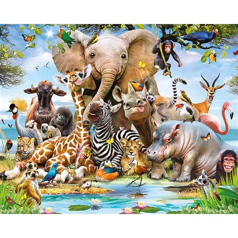 Animal Mural Wallpaper - walltastic jungle safari animals wall mural wt45255 the
