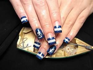 Nautical sailor acrylic nails | Halloween | Nautical nails ...