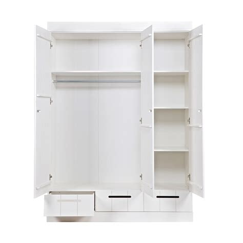 White Wardrobe With Drawers And Shelves by Connect Contemporary 3 Door Locker Style Wardrobe Woood