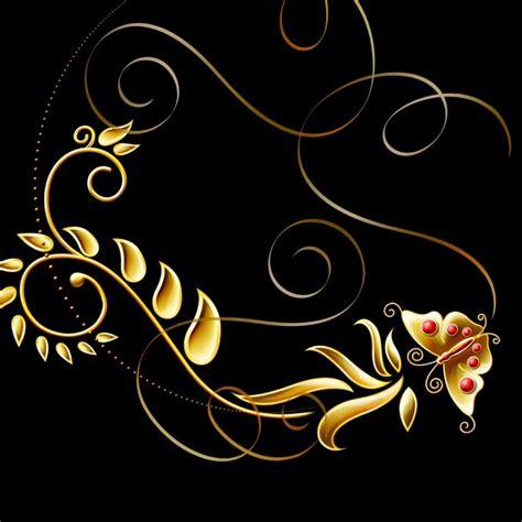 Flatshoes Hitam Gold background emas hitam