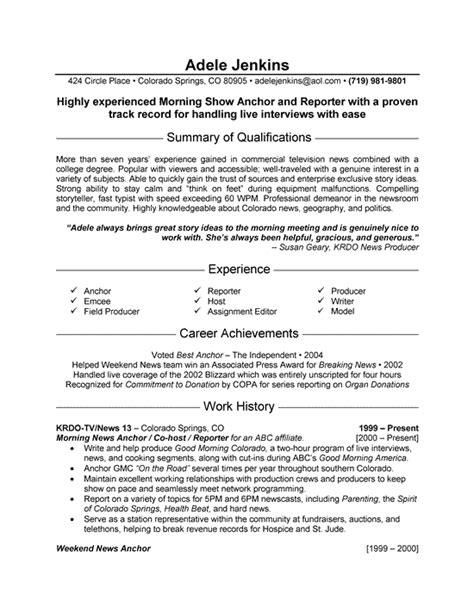 Reporter Description For Resume news reporter resume exles sle resume format