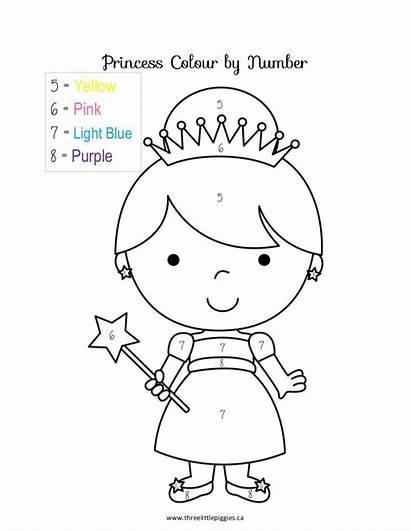 Princess Number Coloring Preschool Kindergarten Az Numbers