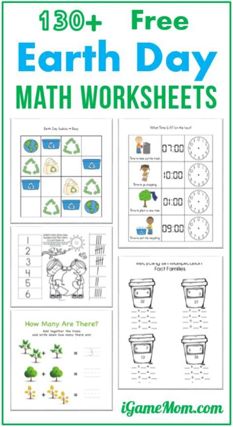 130 free earth day math printable worksheets for