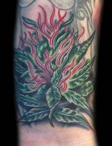 Art by Marvin Silva : Tattoos : Nature Tree : Marijuana Tattoo
