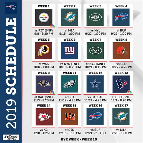 patriots schedule   times opponents