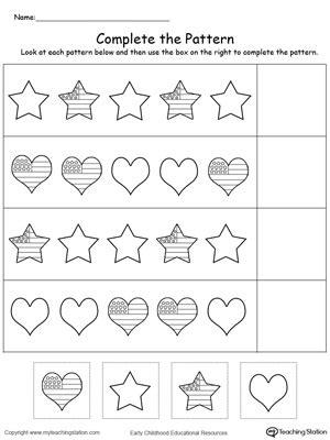 kindergarten patterns printable worksheets