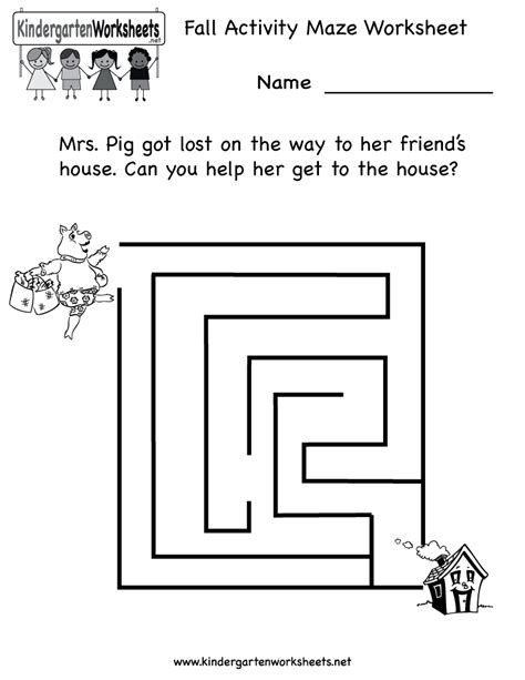 13 Best Images Of Preschool Fall Activity Worksheets  Free Kindergarten Maze Worksheets
