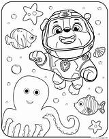Patrol Paw Coloring Underwater Rubble Printable Zuma Kleurplaten sketch template