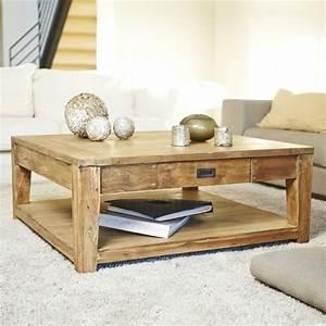 Table Carrée 120x120 : table basse en bois de teck recycl 100 cargo bois dessus bois dessous ~ Teatrodelosmanantiales.com Idées de Décoration
