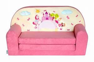 Mini canape lit enfant chateau rosefauteuilspoufsmatelas for Canape convertible pour enfant