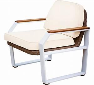 Fauteuil De Jardin Blanc : fauteuil de jardin aluminium blanc et teck miami 249 salon d 39 t ~ Teatrodelosmanantiales.com Idées de Décoration