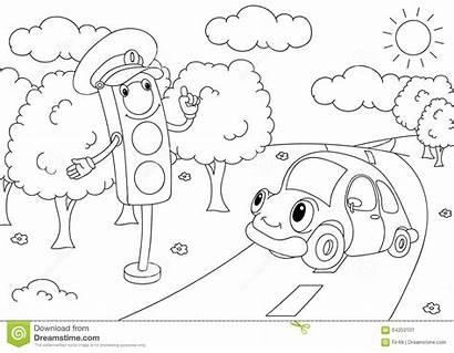 Traffic Lights Cartoon Coloring Semafori Fumetto Automobile