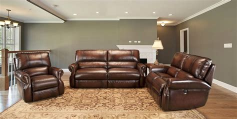 Leather Reclining Sofa Set by Living Hawthorne Brown Leather Reclining Sofa Set