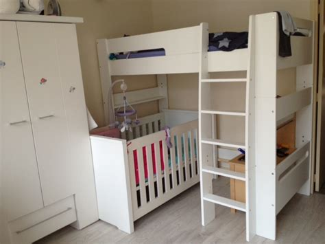 lit superpose avec lit bebe pack lit mezzanine enfant wax blanc