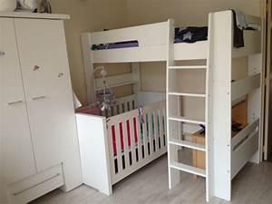 Pack lit mezzanine enfant wax blanc for Amenagement chambre ado avec tres bon matelas