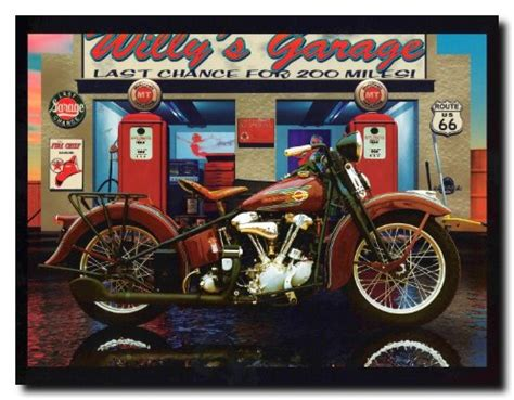 Harley Davidson Willy's Garage Vintage Motorcycle Route 66