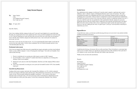 salary review proposal template  ms word proposal