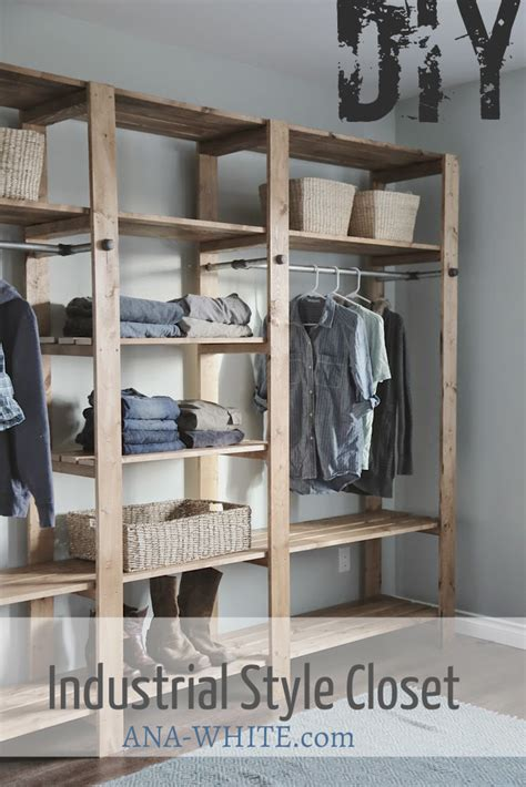 Diy Closet System Plans by White Industrial Style Wood Slat Closet System With