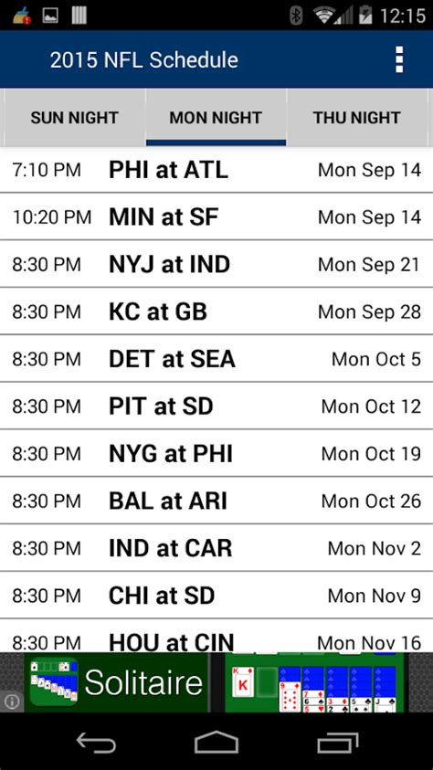 football schedule nfl android apper pa google play