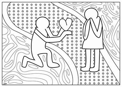 Coloring Pages Valentine Adult Haring Keith Adults