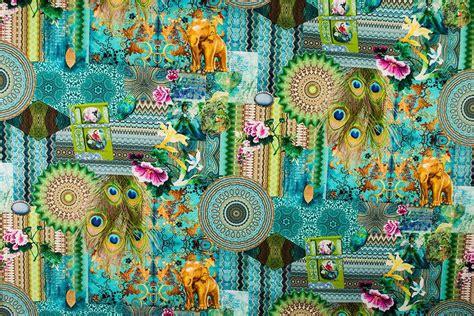 dekostoff digitaldruck mandala elefant und