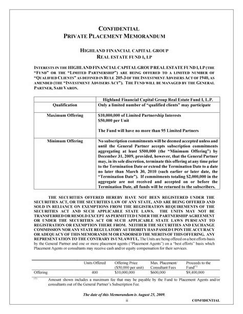 Real Estate Offering Memorandum Template by 40 Placement Memorandum Templates Word Pdf