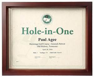 hole in one shadow box certificate frame only 4500 With free hole in one certificate template
