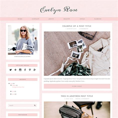 Evelyn Rose: Pastel Pink Responsive Blogger Template