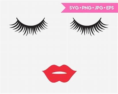 Svg Lips Eyelashes Cricut Cut Silhouette