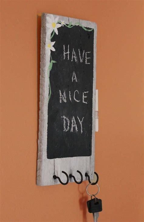 rustic chalkboard  key holder reclaimed pallet wood