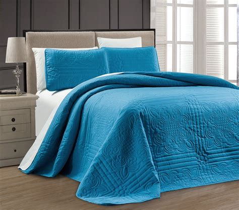 King Size Bed Coverlet by New Xl Cal King Size Bed Blue 3 Pc