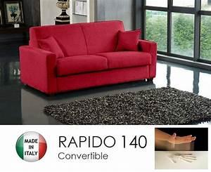 Canapé Rouge Convertible : canape convertible rapido 140cm dreamer tissu tweed cross rouge matelas 140 14 190 cm a memoire ~ Teatrodelosmanantiales.com Idées de Décoration