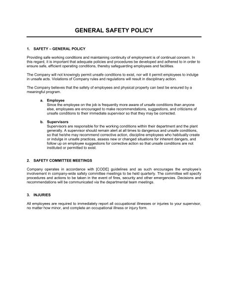 General Safety Policy Template – Word & PDF | By Business