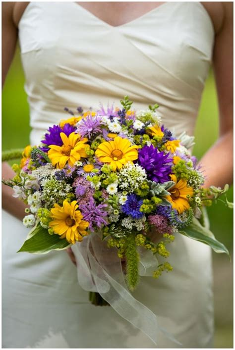 bridal wedding bouquet  helianthus hyssop amaranthus