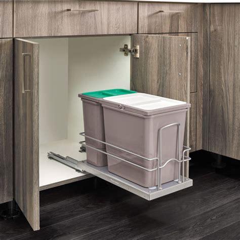 bottom mount sink trash bin pull
