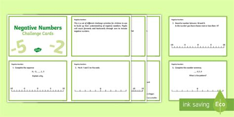 Lks2 Negative Numbers Challenge Cards  Ks2, Maths, Negative