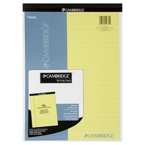 mead cambridge writing pad wide ruled  sheets