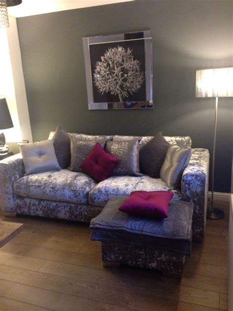purple sofas living rooms crushed velvet sofa love it pink accent cushions with