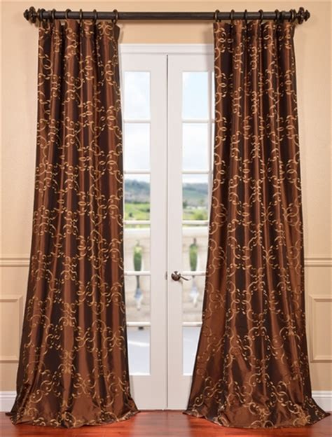 get copper embroidered faux silk curtains