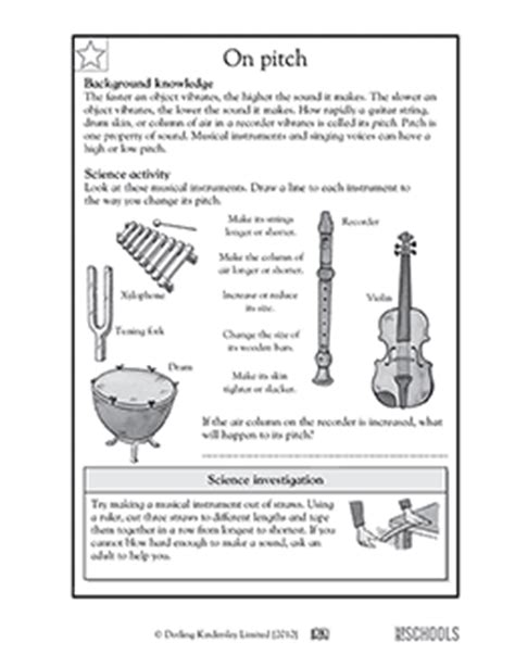 3rd grade 4th grade science worksheets on pitch